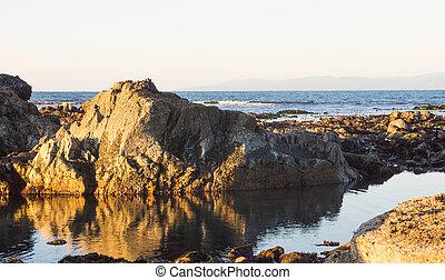 unidas, norte, costa pacífica, estados, baixo, tide.,...