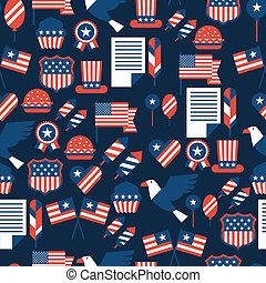 unidas, pattern., seamless, estados, américa, dia,...
