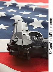 unidas, série, nacional, -, arma, mão, estados, bandeira, aquilo, sobre
