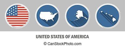 unidas, símbolo., nós, estados, mapas, jogo, américa