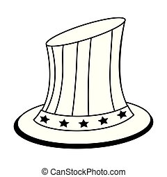 unidas, sam, isolado, estados, tio, patriótico, pretas, chapéu branco
