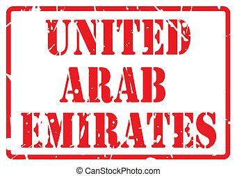 unidas, selo, texto, árabe, emirates, branco vermelho