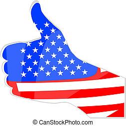 unidas, semelhante, abstratos, mão, estados, bandeira