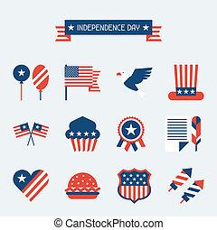 unidas, set., estados, américa, dia, independência, ícone