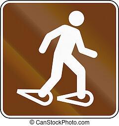unidas, snowshoeing, -, mutcd, sinal, estados, guia, estrada
