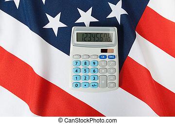 unidas, tiro, despenteado, sobre, -, aquilo, estados, bandeira, estúdio, nacional, calculadora