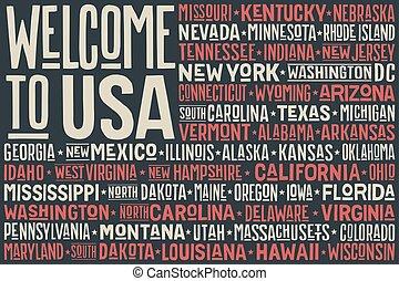 unidas, usa., cartaz, estados, bandeira, américa