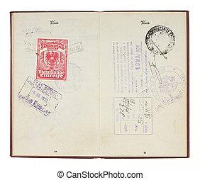 unidas, vindima, estados, selos, passaporte, 1928