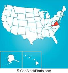 unidas, -, virgínia, ilustração, estados, estado, américa