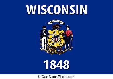 unidas, wisconsin, illustration., flag., estados, america., vetorial