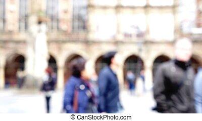 Unidentifiable people walking