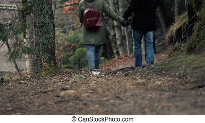 Unidentified Couple Admiring The View Of Forest - Romantic...