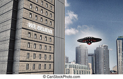 unidentified flying object over the downtown district