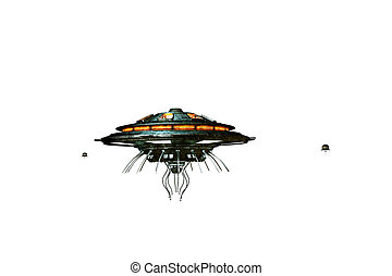 unidentified flying object isolated on white background