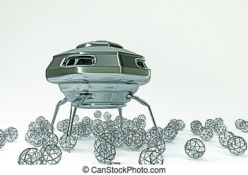 unidentified flying object - 3d illustration of an...