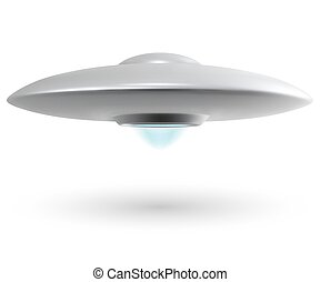 Unidentified flying object or UFO isolated on white...