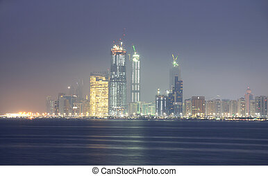 unido, árabe, contorno, dhabi, emiratos, abu, noche