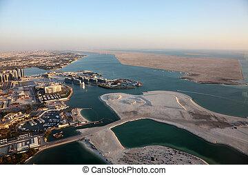 unido, aéreo, encima, costa, árabe, emiratos, abu dhabi,...