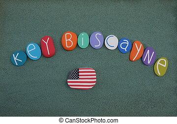 unido, biscayne, llave, multi, cartas, coloreado, isla,...