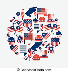 unido, card., saludo, estados, américa, día, independencia