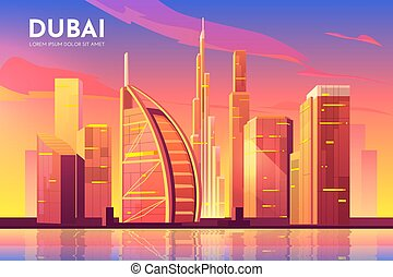 unido, city., árabe, emiratos, cityscape, uae, dubai
