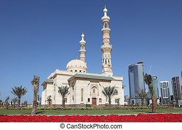 unido, ciudad, mezquita, árabe, emiratos, sharjah