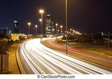 unido, corniche, árabe, emiratos, abu, noche, dhabi, camino