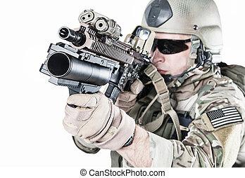 unido, ejército, lanzador, estados, guardabosques, granada