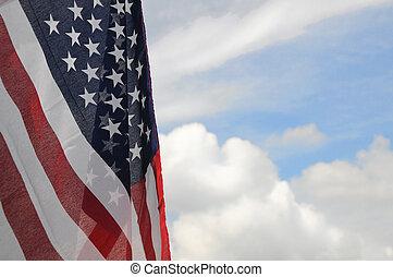 unido, en parte, cielo, nublado, estados, bandera, plano de...