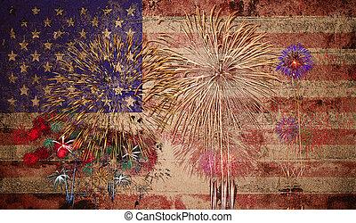unido, estados unidos de américa, fuegos artificiales, estados, bandera, plano de fondo, américa