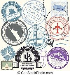 unido, estados unidos de américa, viaje, -, estados, sellos, conjunto, señales, viaje
