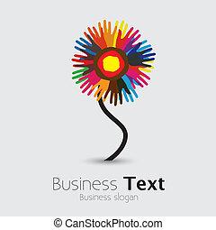 unido, flower-, gente, otro, graphic., comunidad, palma, posición, y, fraternidad, universal, colorido, equipo, ilustración, mano, porción, representa, apoyo, esto, etc, vector, cada, impresiones