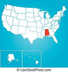 unido, -, ilustración, estados, estado, alabama, américa