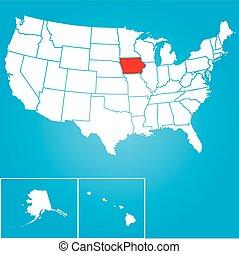 unido, iowa, -, ilustración, estados, estado, américa