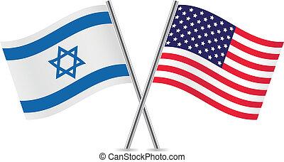 unido, israel, flags., estados