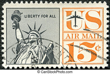 unido, -, libertad, estados, estatua, 1959:, américa,...