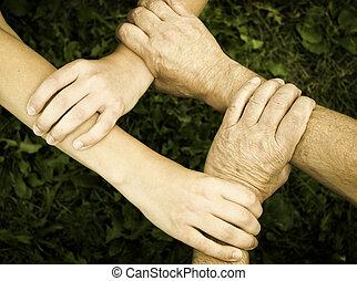 unido, manos