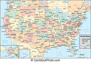 unido, mapa, américa, estados