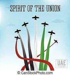 unido, nacional, árabe, emiratos, plano de fondo, día