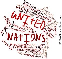 unido, palabra, nube, naciones