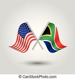 unido, palos, áfrica, símbolo, -, dos, estados, norteamericano, vector, cruzado, africano, banderas, américa, plata, sur