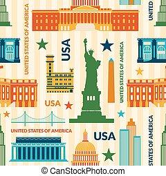 unido, patrón, señales, seamless, estados, vector, américa
