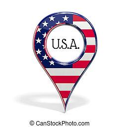 unido, punta alfiler, aislado, estados, bandera, 3d