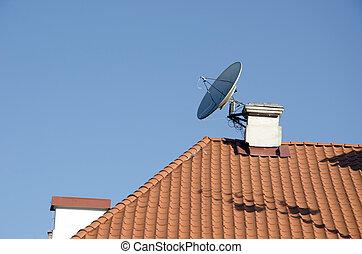 unido, televisión, chimenea, satélite, antena