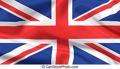 unido, unión, flag., bandera, kingdom., gato, o