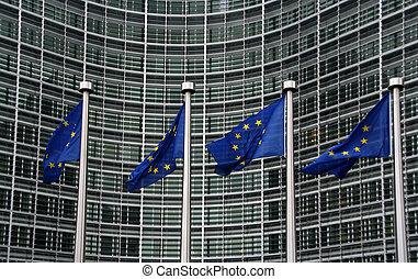 unie, berlaymont, vlaggen, europeaan