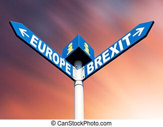 unie, brexit, europeaan, wegaanduidingen