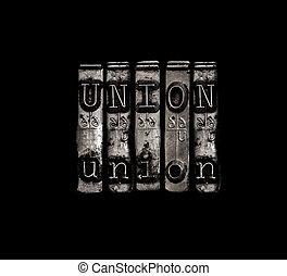 unie, concept, arbeid