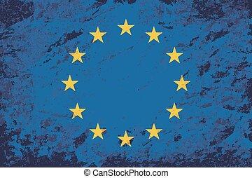unie, flag., grunge, europeaan
