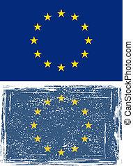 unie, flag., vector, grunge, europeaan
